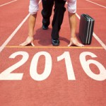 businessman ready to run and 2016 new year concep