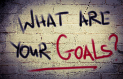 What Are Your Goals Concept -spray paint on brick wall